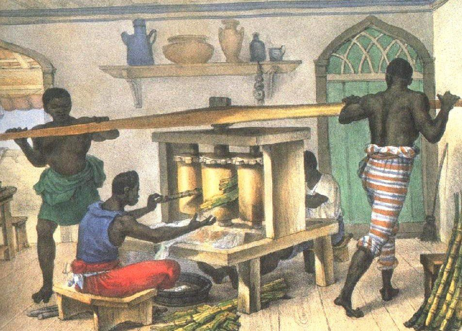 Moendo cana - escravos